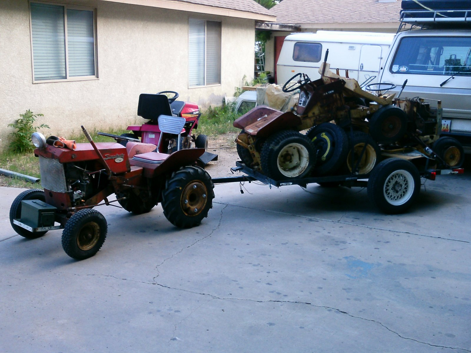 hauling parts tractors to the back