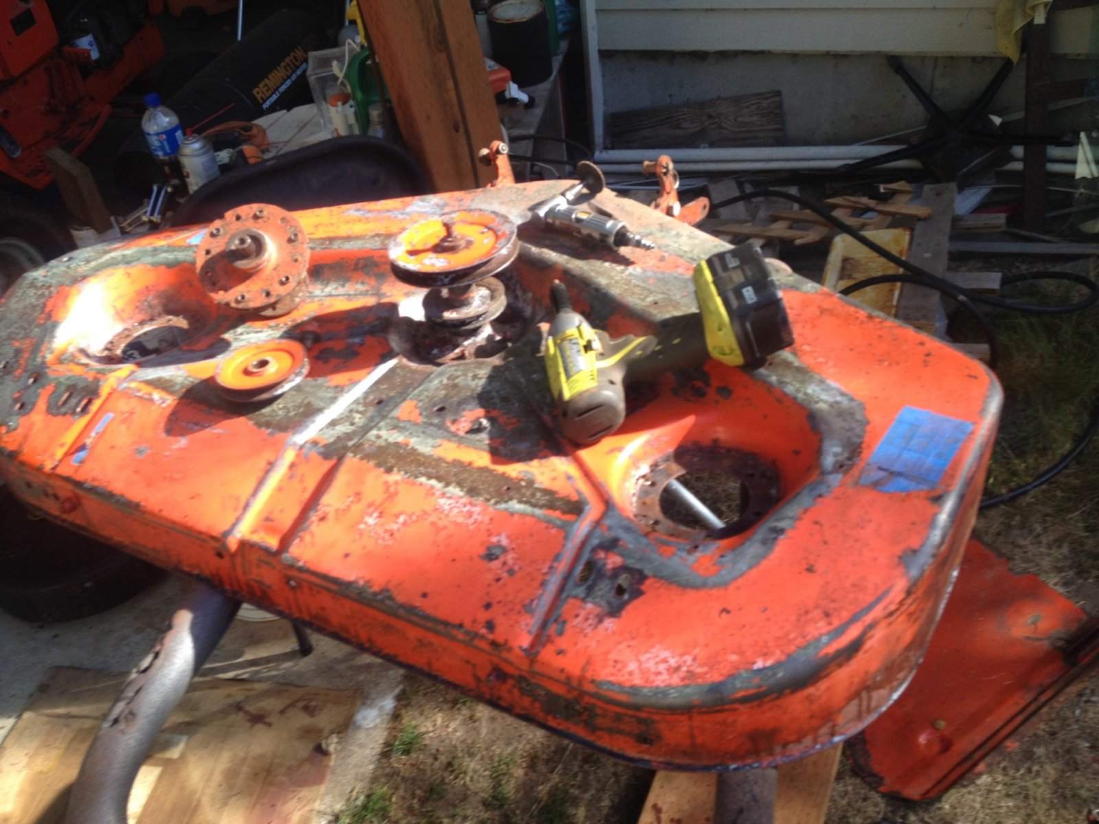 Disassembled the deck. Needle scaled, sanded, formic acid, implement primer and AC orange top coat